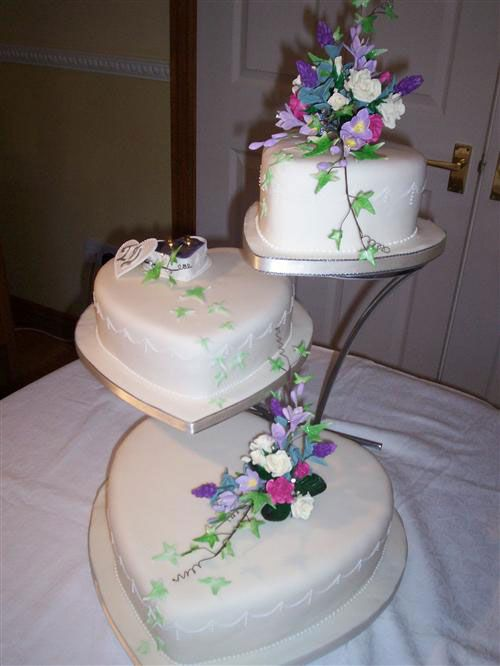 3 Tier Heart Shaped Wedding Cake Lavender & White Floral