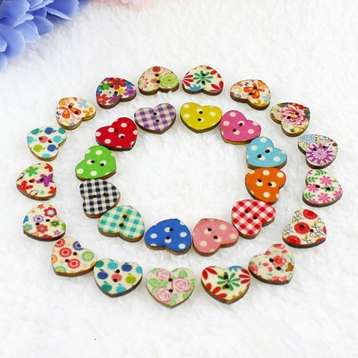 Hot Sale 100 Multicolor Heart Shaped 2 Holes Wood Sewing Buttons Scrapbooking Knopf Bouton B0005