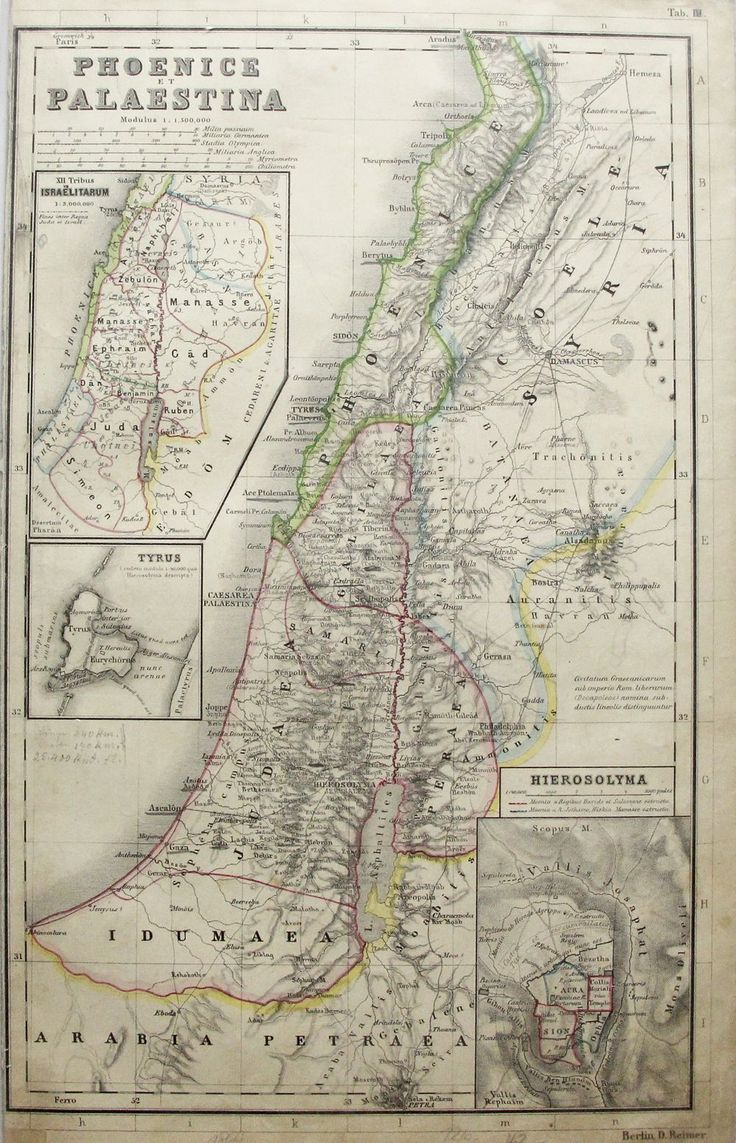 1870S ANTIQUE PRINT Map of PALESTINE