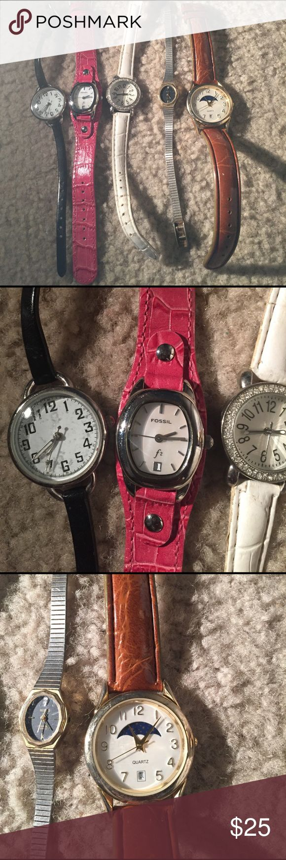 16 watches used nonworking repairable lot Condition unknown but some are in good shape some defects fossils, quartz etc Fossil Accessories Watches