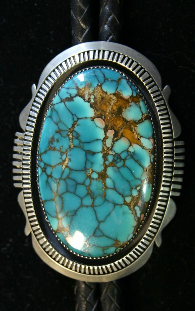 HUGE VINTAGE STERLING SILVER NAVAJO GREEN SPIDERWEB TURQUOISE BOLO, THOMAS BYRD