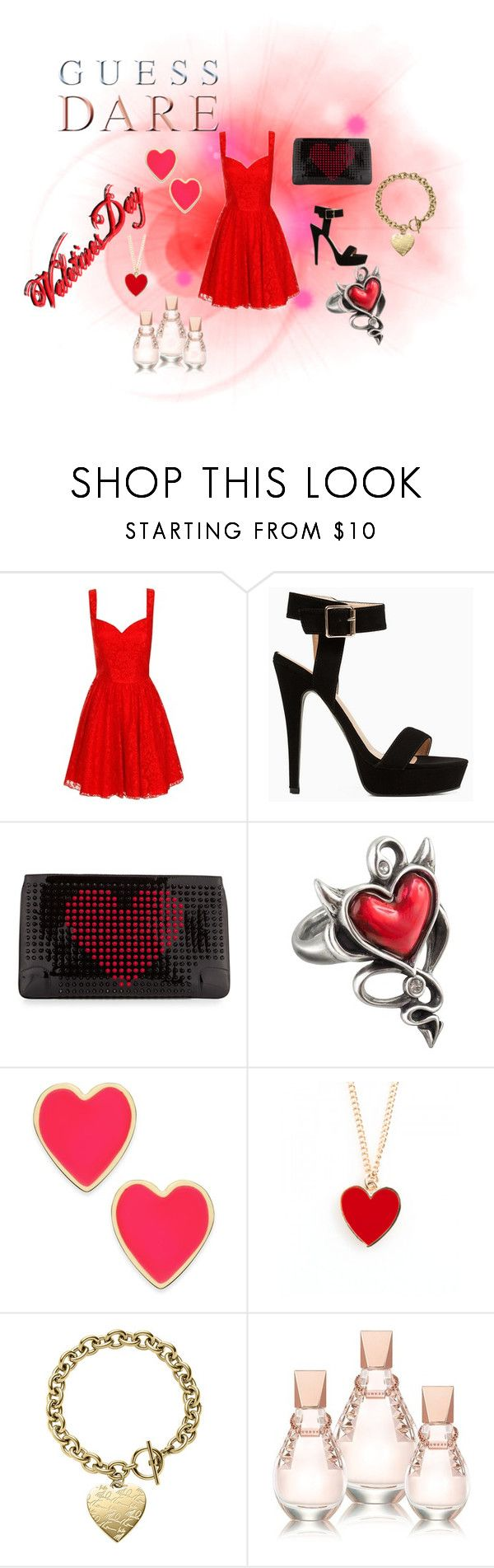Heat Up Your Valentine's Day with GUESS DARE: Contest Entry by kelly17-kalymnos on Polyvore featuring Chi Chi, Stella Luna, Christian Louboutin, Kate Spade, Michael Kors, ban.do and GUESS