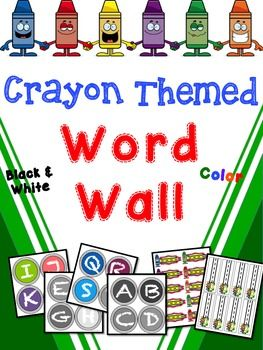 Crayon Themed Word Wall Different WordsColored PaperWord