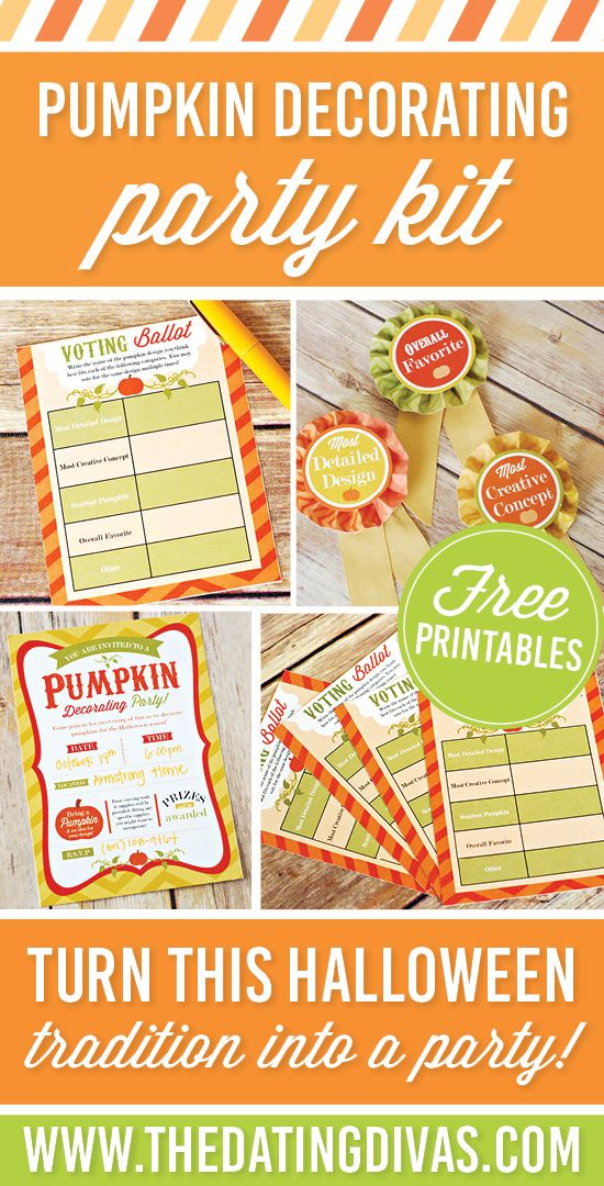 Free printables to help you host your own pumpkin decorating party and contest! www.TheDatingDivas.com