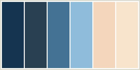 ColorCombo423 - ColorCombos.com color palettes, color schemes, color combos with hex colors codes #153450, #294052, #447294, #8FBCDB, #F4D6BC, #F8E4CC and color combination tags BLUE, BLUE, BLUE, BLUE, ELEPHANT, GIVRY, MIDNIGHT BLUE, MIDNIGHT BLUE, MORNING GLORY, ORANGE, ORANGE RED, PEACH, PICKLED BLUEWOOD, WEDGEWOOD, WHEAT.