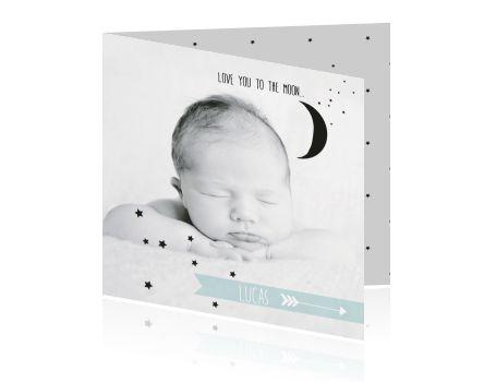 Schattig geboortekaartje met een half maantje.  #geboortekaartje #baby #geboortekaart #birthannouncement #birthcard #zwanger #zwangerschap #jongen #meisje #babygirl #babyboy #fotokaartje