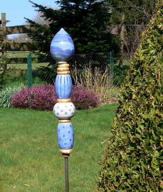 Keramik Stele N 58 Etsy Garden Pottery Clay Ceramics Ceramic Pottery