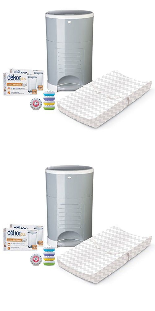 Diapering Solutions: Diaper Dekor Plus Pail with Refills, Air Fresheners, Contoured Changing Pad & Changing Pad Cover - Grey Chevron