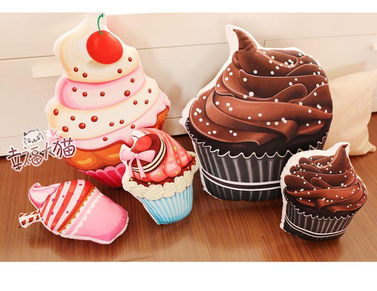 Творческий 1 шт. 30 см мультфильм кексы плюшевые игрушки мороженое торт подушки подарки ко дню рождения купить на AliExpress