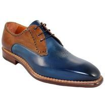 Handmade Men's Plain Brown Blue leather Formal Loafer Shoes from leatherworld2014