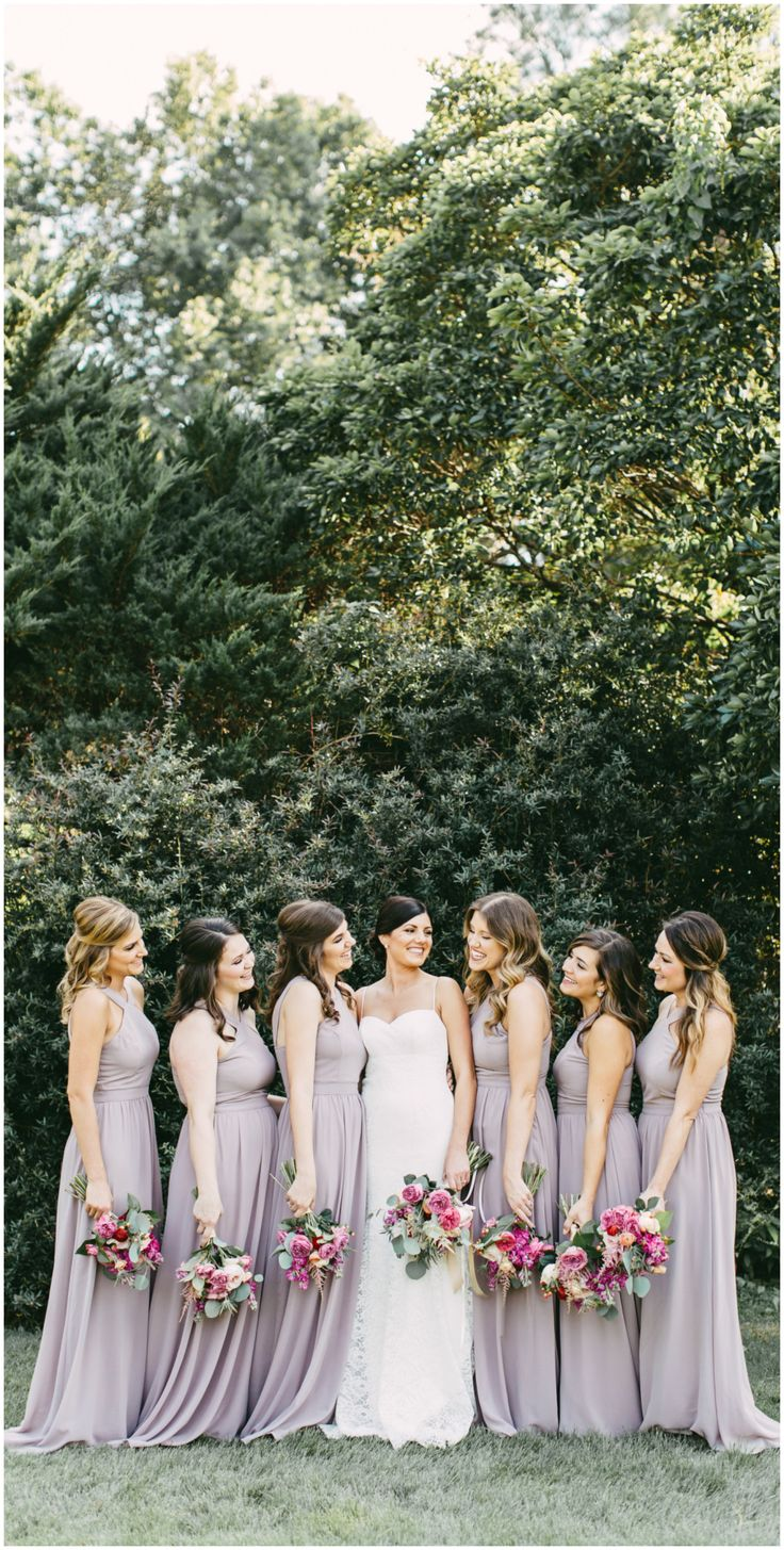 Lilac gowns, long bridesmaid dresses, light purple // Kelly Ginn Photography