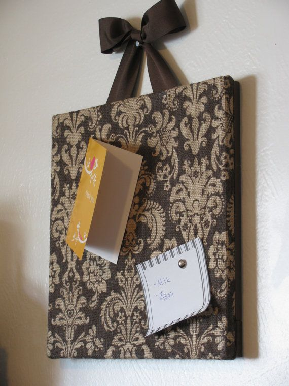 Printed Brown Damask Burlap Cork Board by ciaobellacollections, $39.00