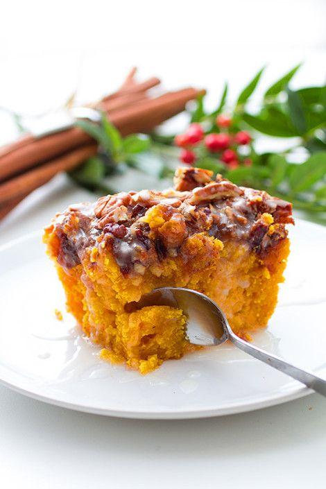 Glaserad sötpotatiskaka med kanel och pecannötter