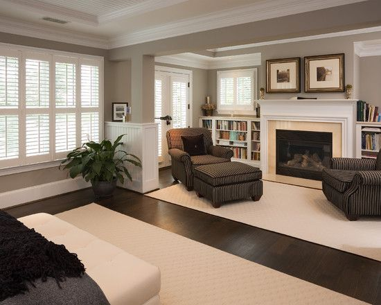 Master bedroom sitting area - love the fireplace and book shelves ...