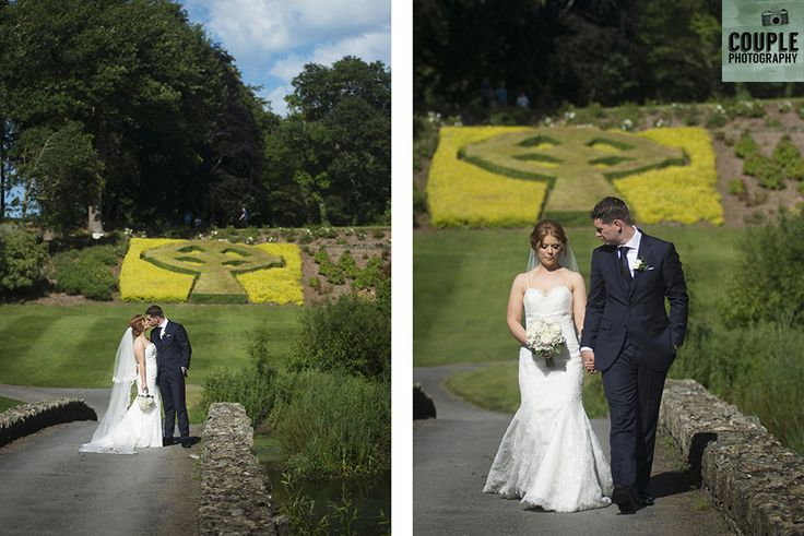 The bride & groom take a stroll on the beautiful grounds at Druids Glen. Weddings at Druids Glen Hotel by Couple Photography.