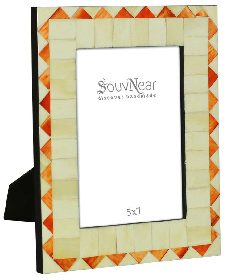 Bulk Buy 5x7 Inches White & Orange Picture Frame - Wholesale Handmade Photo Frame in MDF & Bone - Home Decor Picture Frames from India