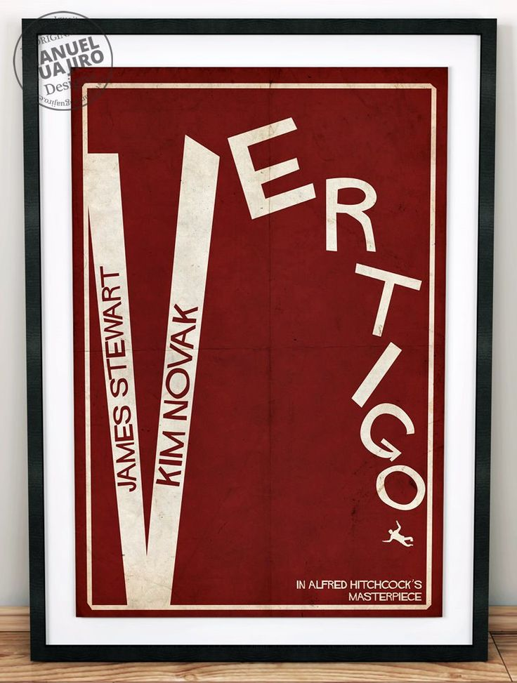 Vertigo - Poster minimalista, Alfred Hitchcock - James Stewart, Kim Novak, póster de pelicula, cartel retro, ilustración de ManuelGuajiroDesigns en Etsy