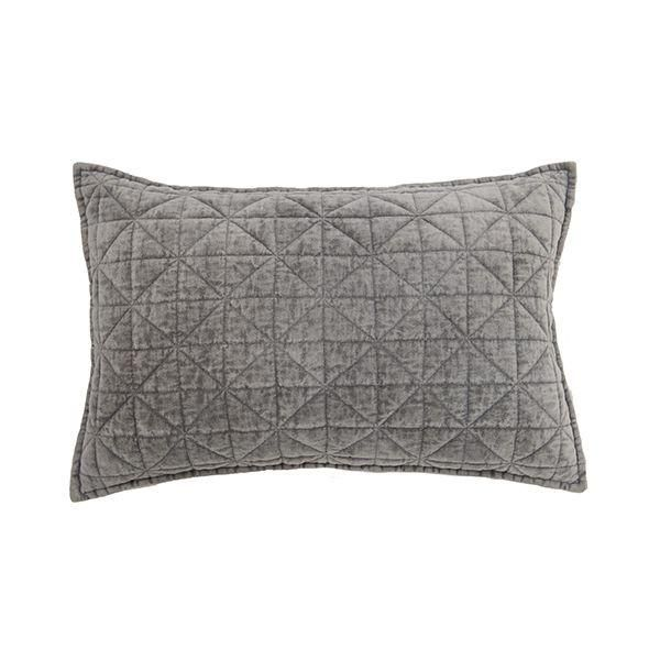 Cushion Quilted Velvet Grey