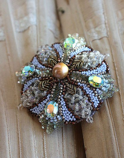 Beaded Cross brooch by Irena Gasha
