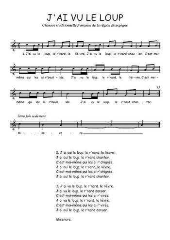 Téléchargez la partition gratuite de la chanson J'ai vu le loup, Comptine traditionnelle française. Chanson traditionnelle