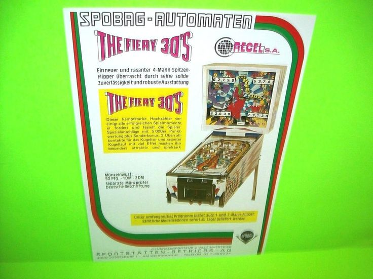 Recel 1974 The FIERY 30s Original Flipper Pinball Machine Ad NOT A FLYER German  #Recel