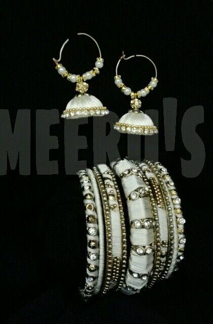 white silk thread jhumky n bangles