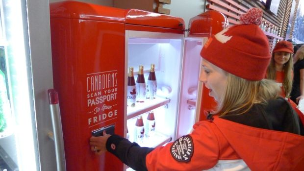 Beer Fridge in Canadian Olympic Village that only opens for Canadians