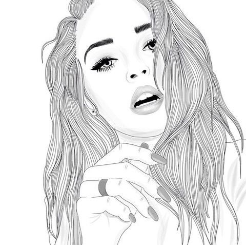 draw, drawing, fancy, girl, girls, outline, tumblr