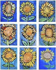 Van Gogh's Sunflowers: 1st grade paintings                              …