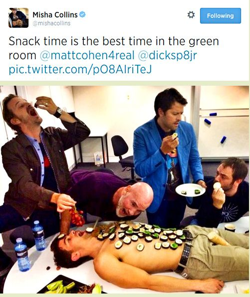 Green room munchies are the best, especially if they are on Matt Cohen's body! Misha tweet.