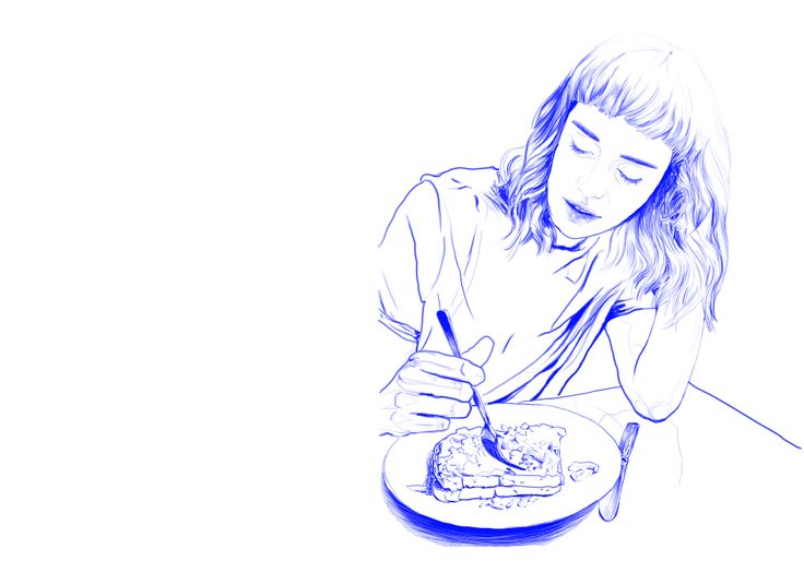 Dominika Ďurechová- Blue breakfast - digital illustration (Wacom tablet, Photoshop)