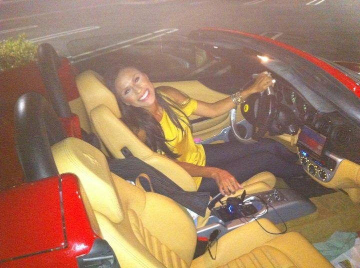 Stephane Marchand's wife Nicole Marchand in her Ferrari car giving a cute pose to shoot. Mr Stephane Marchand Ladera Ranch has recently purchased sea cliff estate.