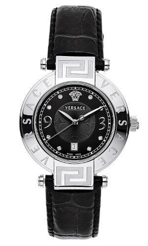 Versace Women's 68Q99SD009 S009 Reve 3 H Black Dial Genuine Leather Diamond Watch
