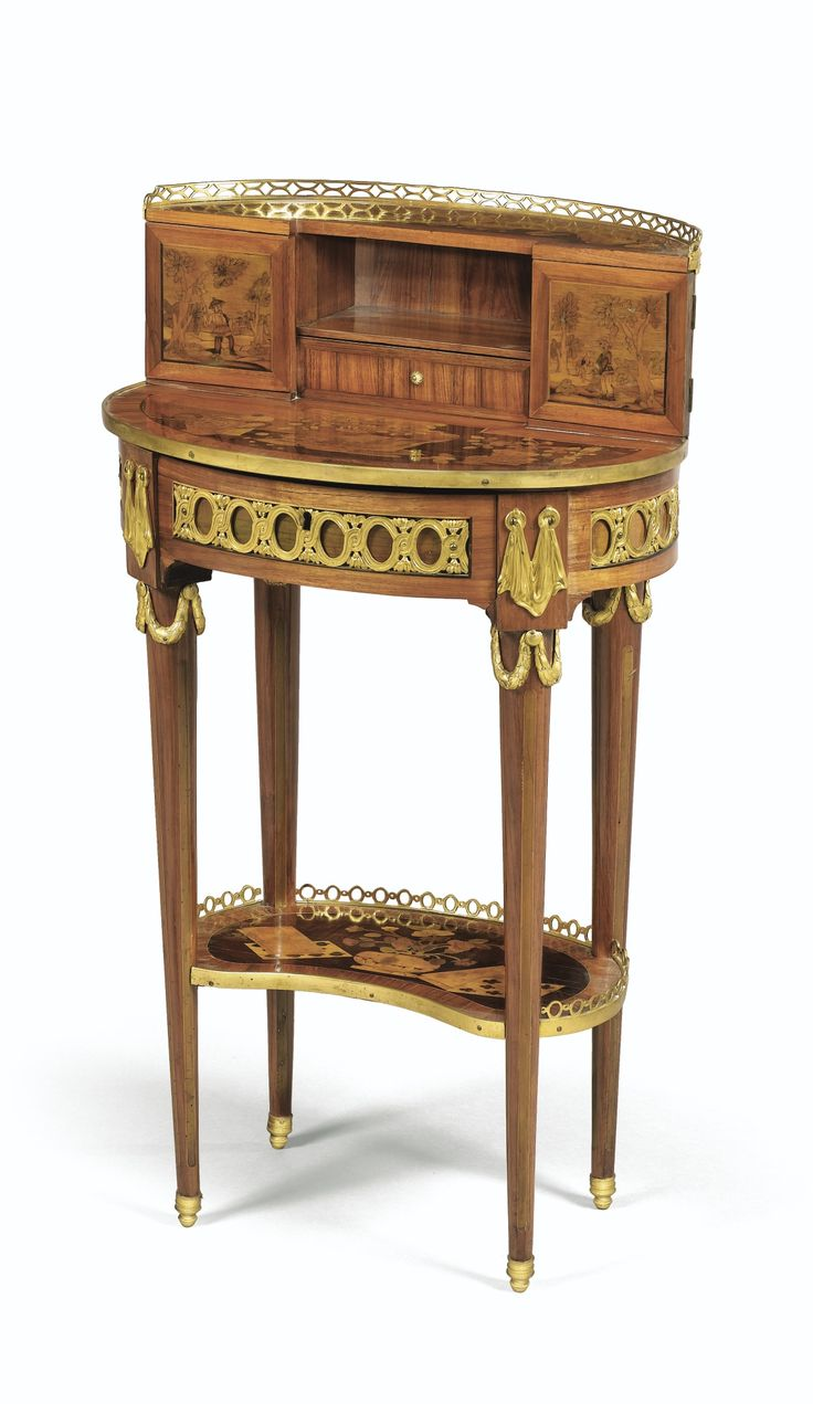 Antique furniture styles - C 1775 Bronze Gilt Mounted Writing Table With Chinese Scenes French Furnitureantique