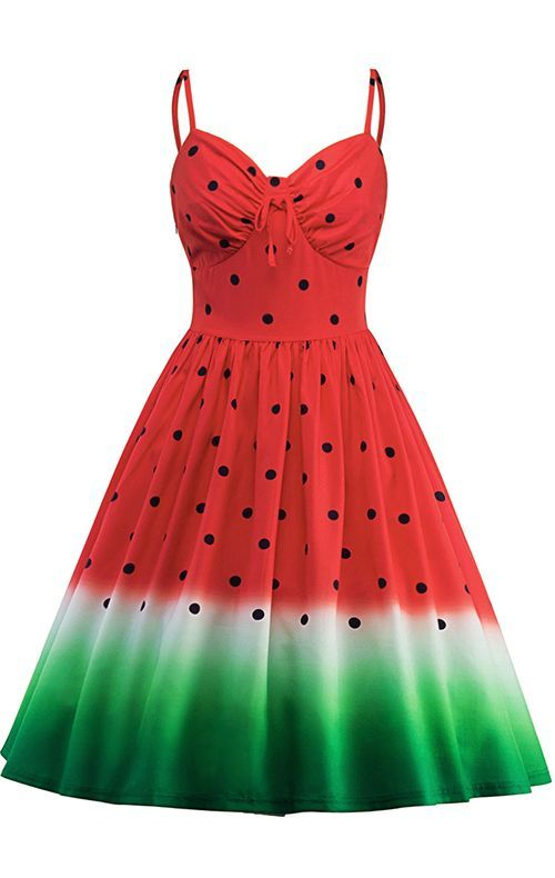 3bc606e5d0e Spaghetti Strap Watermelon Print A Line Dress