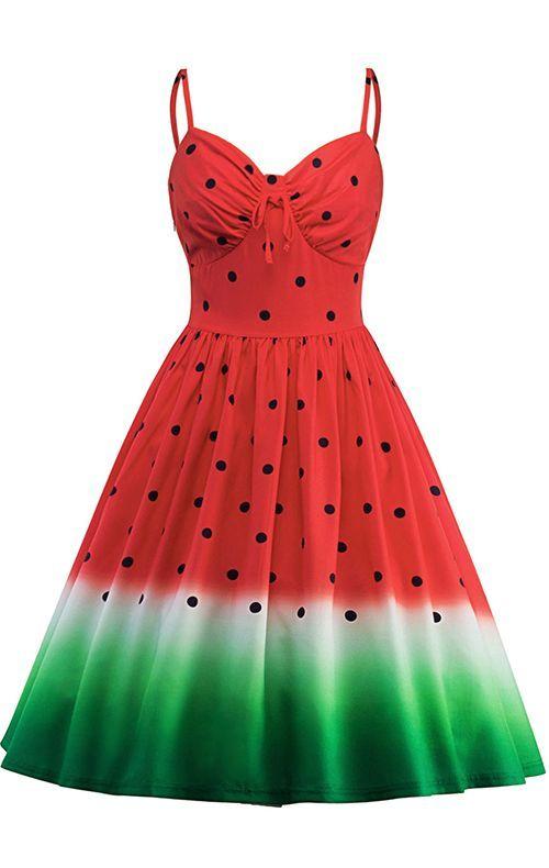 Spaghetti Strap Watermelon Print A Line Dress