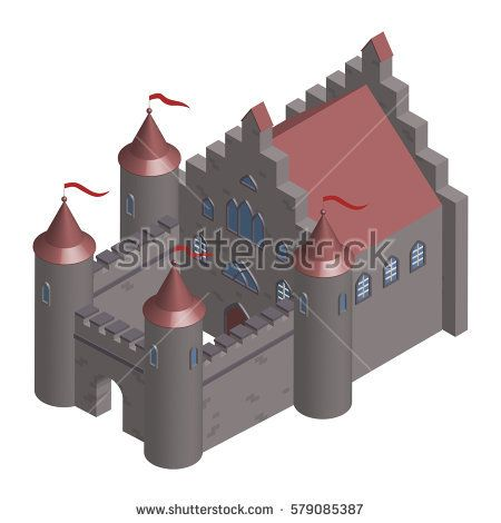 Old castle. Isometric. Vector illustration.