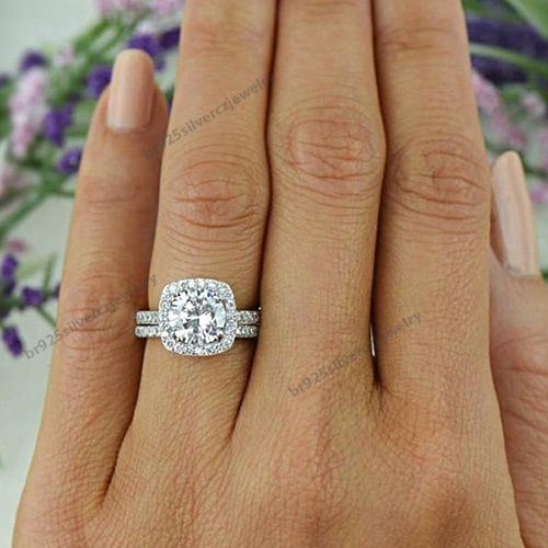 2.2/5 CT.T.W Diamond Frame Halo Wedding Bridal Ring Set In 14K White Gold Plated #br925silverczjewelry #WeddingEngagementAnniversaryBirthdayGift