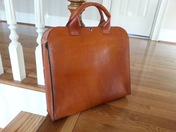 """An extremely simple Portfolio Briefcase - Genuine Leather Handmade """"The Honey Bear"""""""