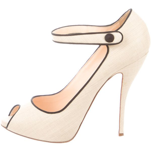 Pre-owned Christian Louboutin Raffia Peep-Toe Mary Jane Pumps found on Polyvore featuring shoes, pumps, neutrals, peeptoe pumps, cream pumps, christian louboutin shoes, black pumps and peep toe shoes