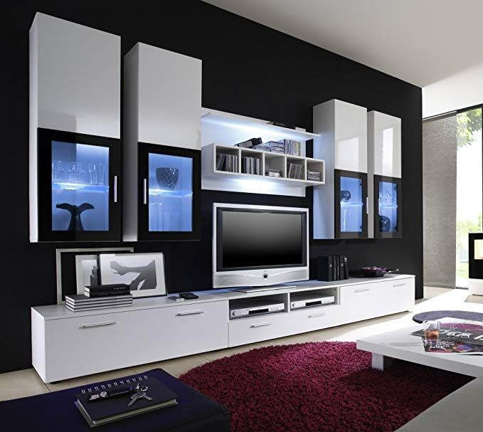 Moderne Wohnwand Vitrine Anbauwand Wohnzimmer Mobel Weiss