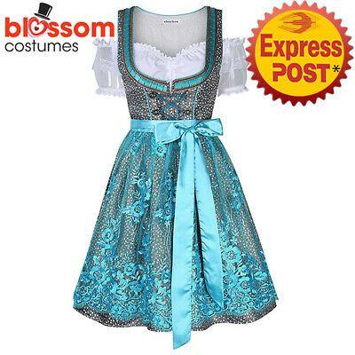 K935 Oktoberfest Blue Floral Dirndl Deutsches Bier Mädchen Bayerische Frauenkostüm #fa … – Costumes