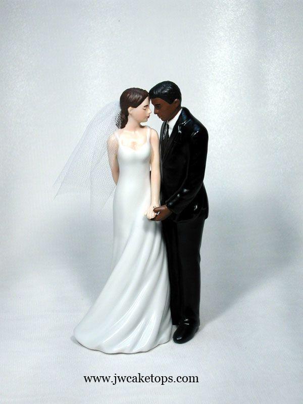 Wedded Bliss Interracial Dark Brown Groom Caucasian Bride Cake Top