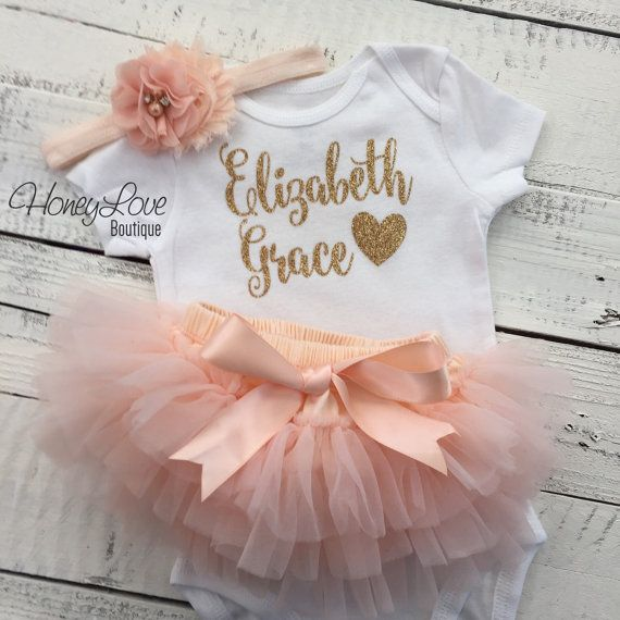 PERSONALIZED SET gold glitter shirt bodysuit, peach ruffle tutu skirt bloomers, flower headband, newborn baby girl take home hospital outfit by HoneyLoveBoutique