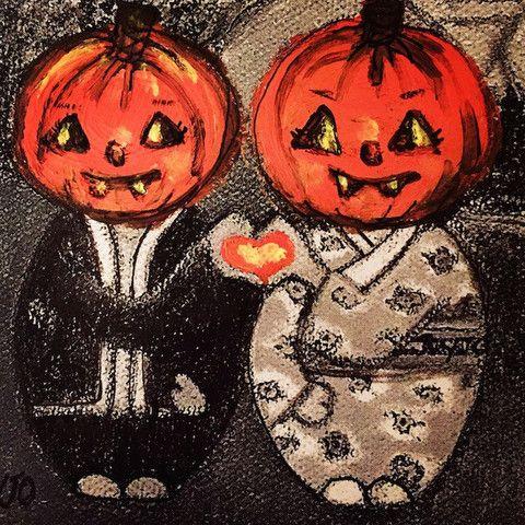 Mei+Kenji at Halloween with pumpkin heads Artprint
