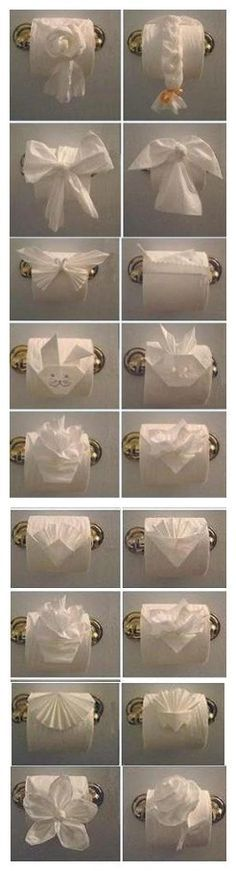 Toilet Paper Origami - I dare you to do this at someone else's house.
