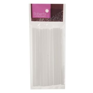 ROBERTS WHITE LOLLYPOP STICKS 150MM PACK OF 25