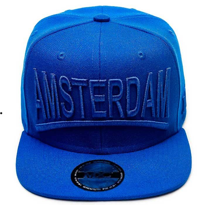Boné Aba Reta 6 Gomos em poliéster, azul, modelo Snapback marca MXC original, aba 8 costuras.