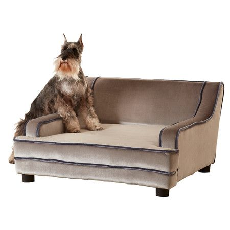 Midcentury sofa-inspired pet bed with fabric upholstery and coordinating trim.  Product: Pet bedConstruction Materia...