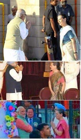True PM of India.. Narendra Modi.. Getting respect from everywhere.. Narendra Modi Sonia Gandhi and Manmohan Singh at Dussehra Function
